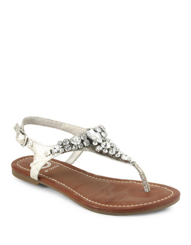 G By Guess Londean Faux- Leather Sandals-SILVER-9.5