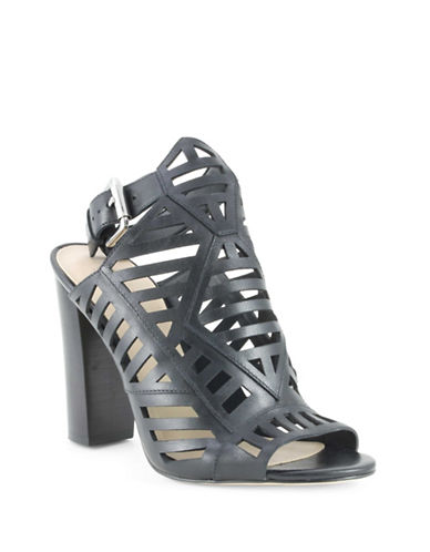Guess Essty Leather Cut-Out Sandals-BLACK-8.5