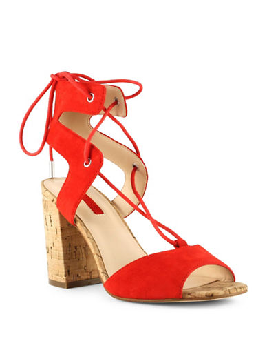 Guess Onay Savoy Suede Lace-Up Sandals-RED-9
