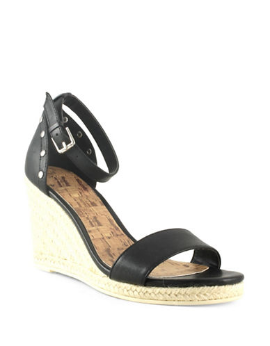 G By Guess Bae Faux Leather Espadrille Wedge Sandals-BLACK-8.5