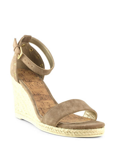 G By Guess Bae Faux Leather Espadrille Wedge Sandals-SAND-6.5 89128489_SAND_6.5