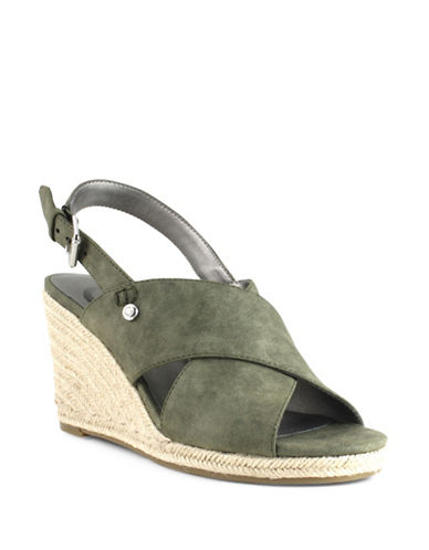 G By Guess Faux Suede Espadrille Wedge Sandals-GREEN-6.5