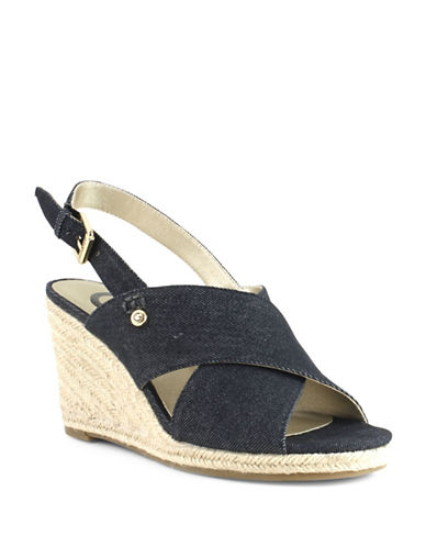 G By Guess Denim Espadrille Wedge Sandals-BLUE-8