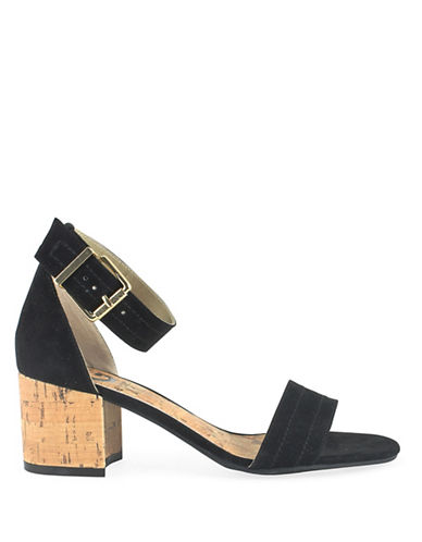 G By Guess Suede Ankle Strap Sandals-BLACK-9