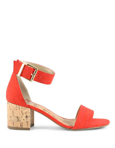G By Guess Suede Ankle Strap Sandals-RED-6.5