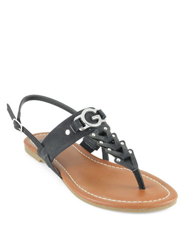 G By Guess Liberty T-Strap Sandals-BLACK-5.5