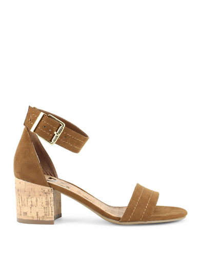 G By Guess Suede Ankle Strap Sandals-BROWN-6.5