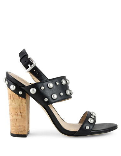 Guess Studded Cork Heel Sandals-BLACK-7