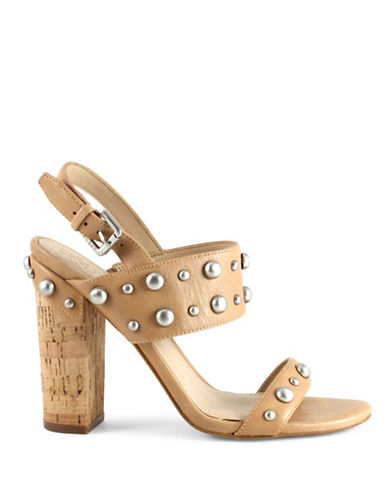 Guess Studded Cork Heel Sandals-BROWN-8.5