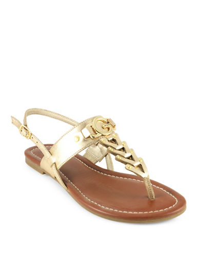 G By Guess Liberty T-Strap Sandals-GOLD-10