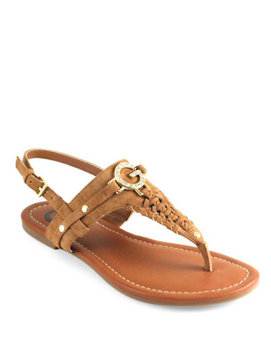 G By Guess Loginn T-Strap Slingback Sandals-HONEY-6.5