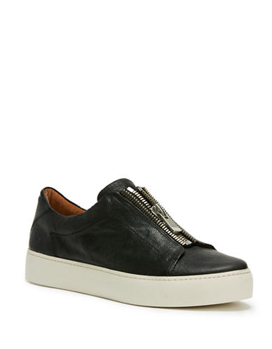 Frye Lena Leather Low Top Sneakers-BLACK-5.5