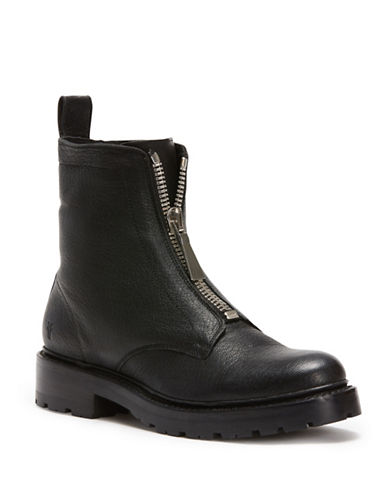 Frye Front Zip Leather Boots-BLACK-10