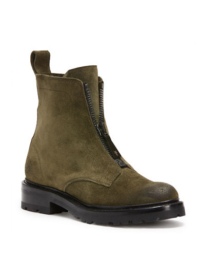 Frye Front Zip Leather Boots-FOREST-8.5
