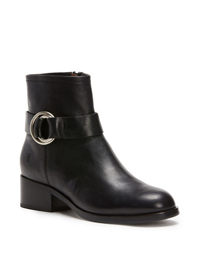 Frye Kristen Harness Leather Booties-BLACK-8