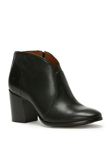 Frye Nora Zip Leather Booties-BLACK-7