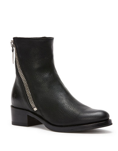 Frye Demi Zip Leather Booties-BLACK-7.5