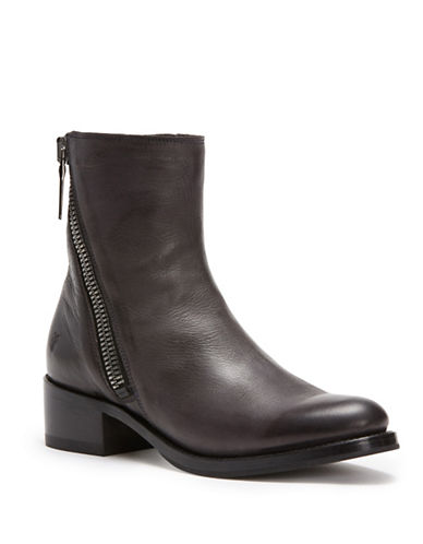 Frye Demi Zip Leather Booties-CHARCOAL-10