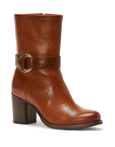 Frye Addie Harness Leather Mid-Calf Boots-BROWN-9