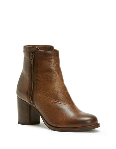 Frye Addie Double Zip Leather Booties-WHISKEY-8