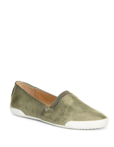 Frye Melanie Leather Slip-On Sneakers-FOREST-7.5