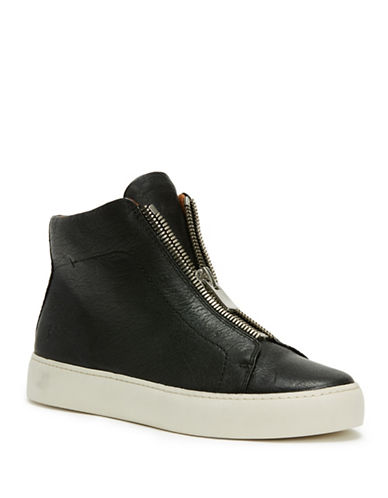 Frye Lena Leather High-Top Sneakers-BLACK-7.5