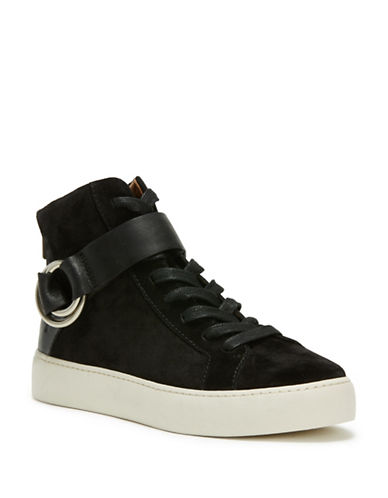 Frye Lena Harness Leather High-Top Sneakers-BLACK-8.5