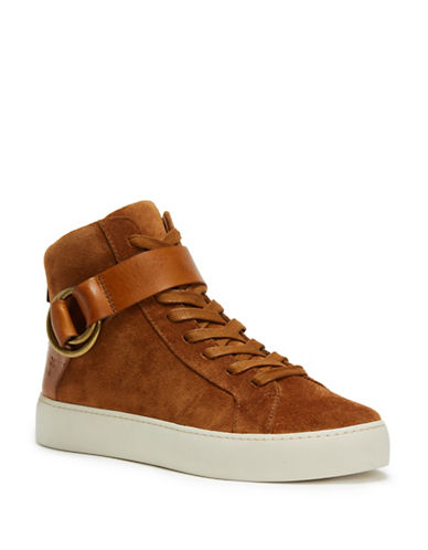 Frye Lena Harness Leather High-Top Sneakers-NUTMEG-9