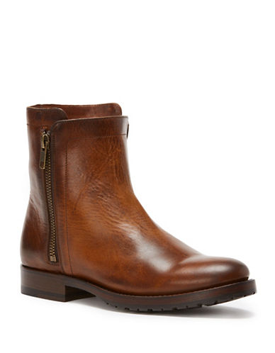 Frye Natalie Double Zip Leather Booties-WHISKEY-9.5