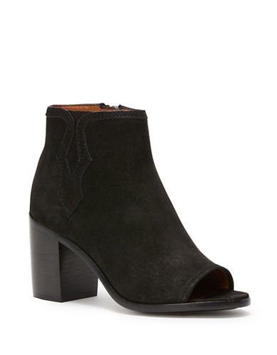 Frye Peep Toe Leather Booties-BLACK-7.5