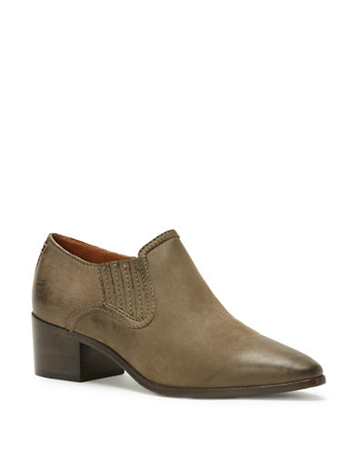 Frye Leather Western Booties-GREY-6.5