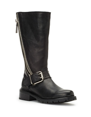 Frye Samantha Zip Leather Tall Boots-BLACK-8