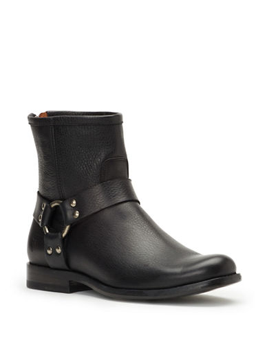 Frye Phillip Harness Leather Booties-BLACK-8