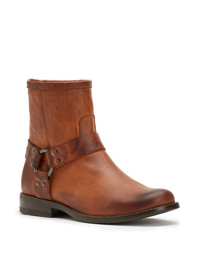 Frye Phillip Harness Leather Booties-COGNAC-8.5