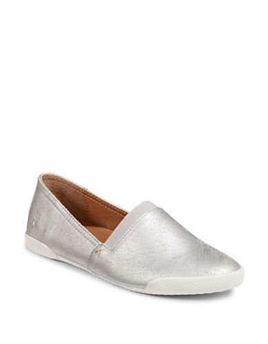 Frye Melanie Metallic Slip-On Leather Loafers-SILVER-5.5