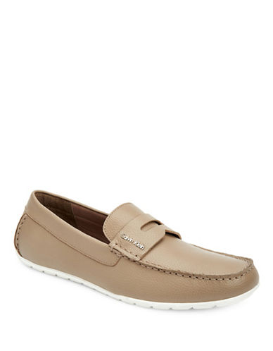Calvin Klein Putty Ivan Tumbled Leather Loafers-PUTTY-7.5