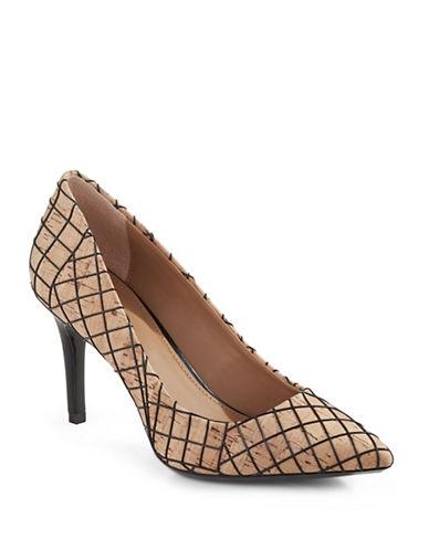 Calvin Klein Gayle Cork Pointed Toe Pumps-BEIGE-8.5
