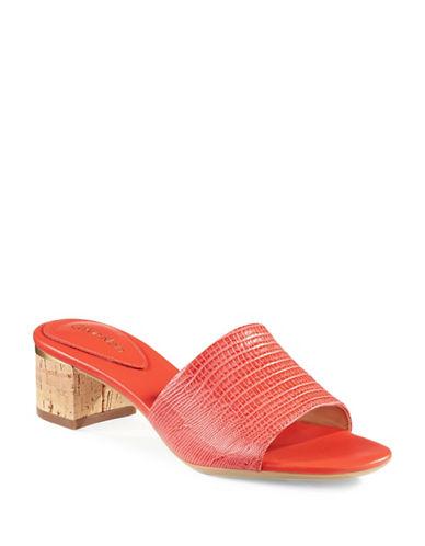 Calvin Klein Dasha Embossed Leather Block Sandals-PINK-7.5