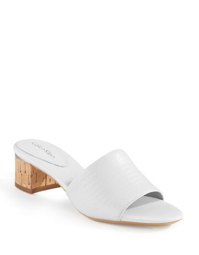 Calvin Klein Dash Embossed Leather Block Sandals-WHITE-9