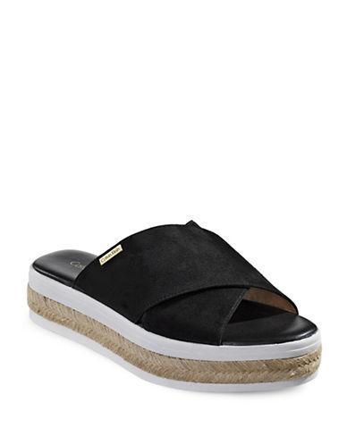 Calvin Klein Jupare Suede Flatform Slides-BLACK-10