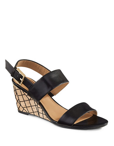 Calvin Klein Peony Leather Grid-Cork Wedge Sandals-BLACK-6.5