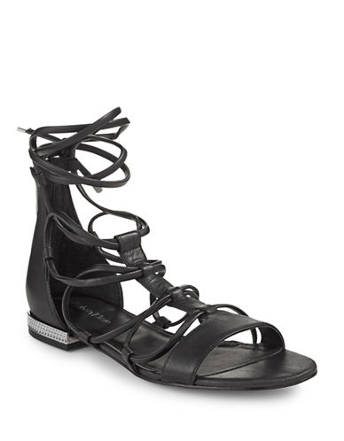 Calvin Klein Elena Caged Leather Sandals-BLACK-6