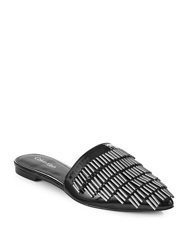 Calvin Klein Addie Beaded Slip-Ons-BLACK PATENT-9.5