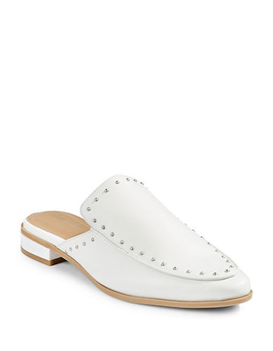 Calvin Klein Floral Stud Leather Slip-On Mules-WHITE-6 88951776_WHITE_6