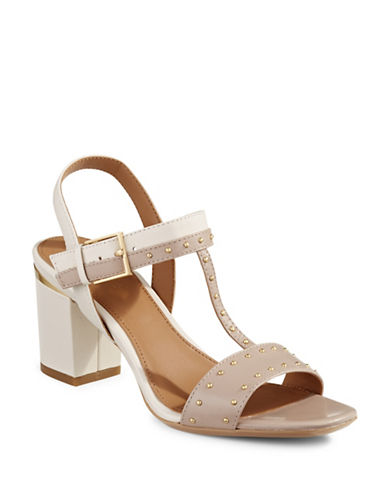Calvin Klein Carline Leather Sandals-BEIGE-7.5