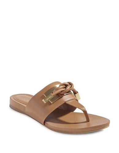 Calvin Klein Parson Leather Thong Sandals-BEIGE-7.5