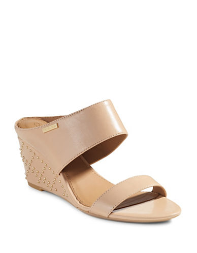 Calvin Klein Phyllis Studded Leather Wedges-SAND-10