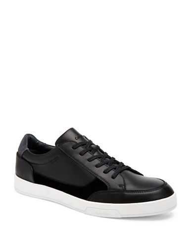 Calvin Klein Bradley Brushed Leather Sneakers-BLACK-10.5