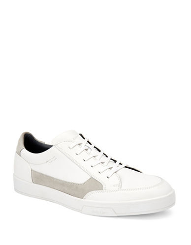Calvin Klein Bradley Brushed Leather Sneakers-WHITE-11.5