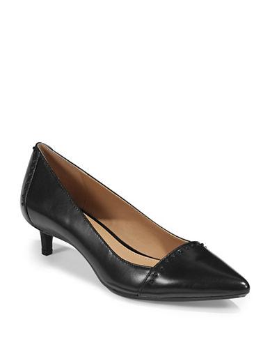 Calvin Klein Leather Kitten Heel Pumps-BLACK-7.5